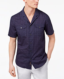 Michael Kors Men's Slim-Fit Textured Check Notch-Collar Pocket Shirt