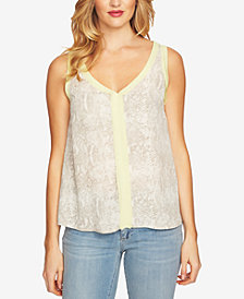 CeCe Snake-Embossed Top