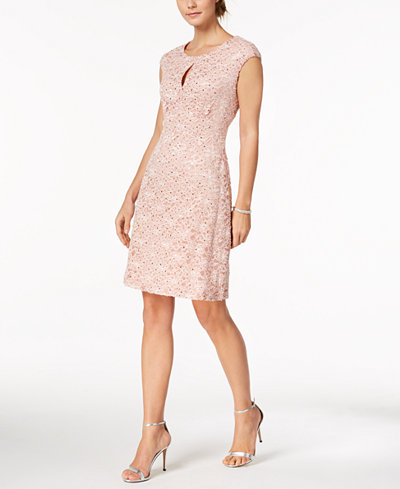 Connected Petite Sequined Lace Keyhole Dress