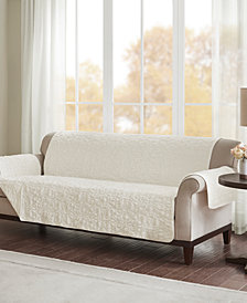 Madison Park Bismarck Embroidered Faux-Fur Furniture Protectors
