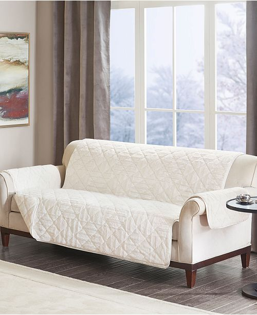 Madison Park Arctic Quilted Checkerboard Long Faux Fur Sofa Protector