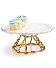 Hotel Collection Round Marble Elevated Server, Created for Macy's