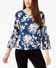 Alfani Petite Printed Ruffle-Sleeve Top, Created for Macy's
