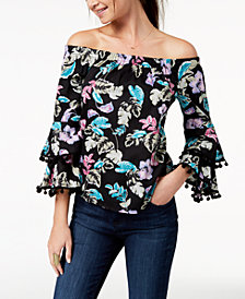 Ultra Flirt by Ikeddi Juniors' Printed Off-The-Shoulder Top