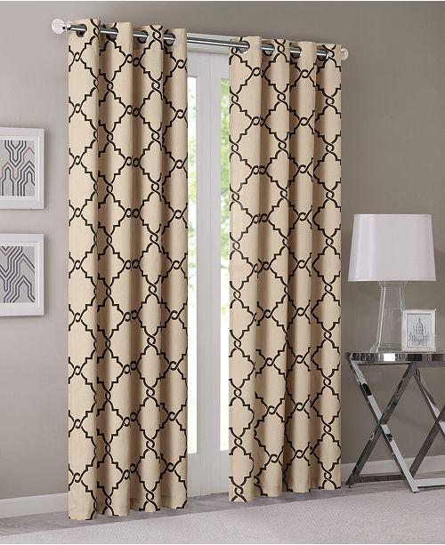 Madison Park Saratoga 50 X 63 Fretwork Print Grommet Curtain Panel