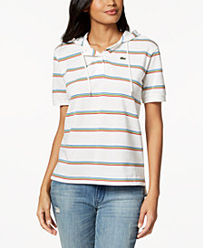Lacoste Cotton Striped Hooded Polo Shirt