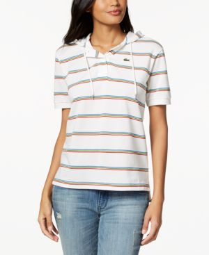COTTON STRIPED HOODED POLO SHIRT