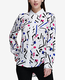 DKNY Printed High-Low Shirt, Created for Macy's