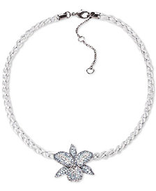 "Nina Cubic Zirconia Orchid Braided Cord Pendant Necklace, 16"" + 3"" extender"