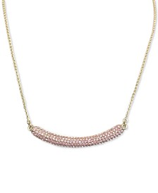 "Gold-Tone Pavé Crystal Curved Bar 17""  Pendant Necklace"