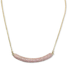 "Nina Gold-Tone Pavé Crystal Curved Bar 17""  Pendant Necklace"