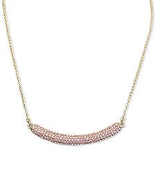 "Nina Gold-Tone Pavé Crystal Curved Bar 17""  Pendant Necklace"