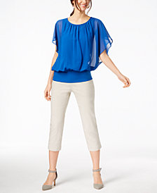 JM Collection Flutter-Sleeve Top & Pull-On Capri Pants, Created for Macy's