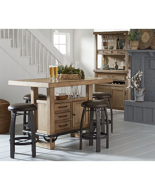 Furniture Brewing Collection 5 Pc Set Storage Bar Table 4 Whiskey Barrel Stools Macy S