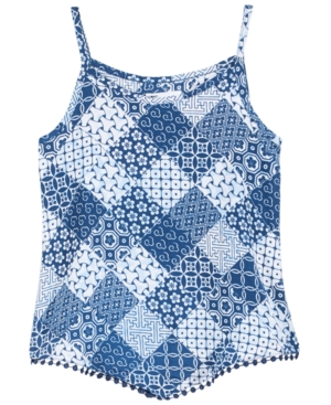 Epic Threads Printed Pom PomTrim Tank Top Big Girls Created for Macys