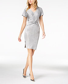 Bar III Twist-Front Metallic Dress, Created for Macy's