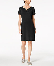 Karen Scott Lace-Up Shift Dress, Created for Macy's