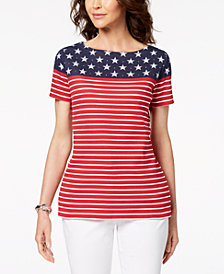 Karen Scott Petite Stars-and-Stripes-Print Top, Created for Macy's