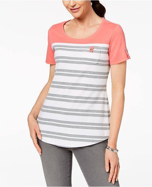 Scott Coral Macy's Karen Pocket Peony Created Petite Top for Patch Striped HxxZvdq