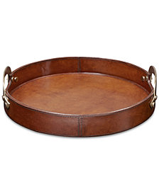 Madison Park Signature Camryn Leather Round Tray Small