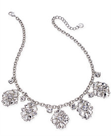 "Charter Club Silver-Tone Crystal Statement Necklace, 17"" + 2"" extender, Created for Macy's"