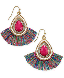 Thalia Sodi Gold-Tone Stone, Bead and Fringe Drop Earrings, Created for Macy's