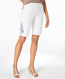 Style & Co Embroidered Bermuda Shorts, Created for Macy's