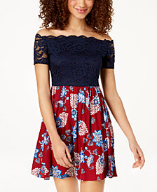 City Studios Juniors' Lace-Contrast Fit & Flare Dress