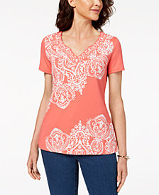 Karen Scott Paisley-Print Top, Created for Macy's