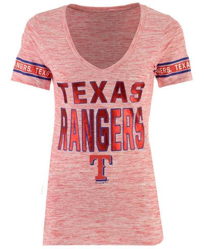 5th & Ocean Women's Texas Rangers Space Dye Sleeve T-Shirt