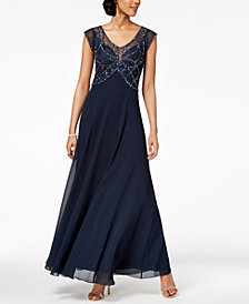 J Kara Embellished Illusion Gown