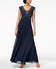 J Kara Embellished Illusion Gown