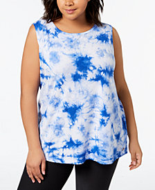 Calvin Klein Performance Plus Size Tie-Dyed Keyhole Tank Top