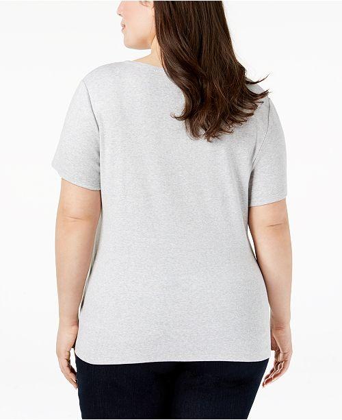 Pale Created T Macy's Shirt Scott Size Heather Grey for Plus Karen Cotton Graphic xqav0gWwp