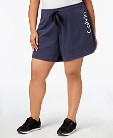 Calvin Klein Performance Plus Size Logo Curved-Hem Shorts
