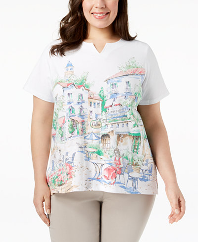 Alfred Dunner Plus Size Café Scenic Graphic T-Shirt