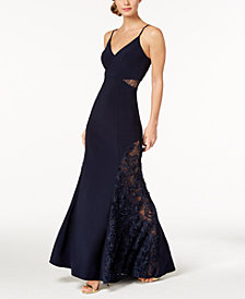 Betsy & Adam Petite Adjustable Lace-Contrast Gown