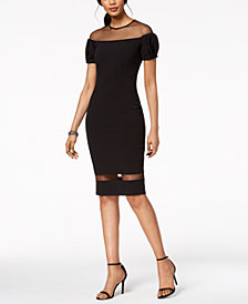 Betsy & Adam Mesh Illusion Dress, Regular & Petite