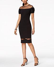 Betsy & Adam Mesh Illusion Dress, Regular & Petite