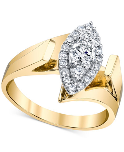 Diamond Marquise-Shape Ring (5/8 ct. t.w.) in 14k Gold & White Gold