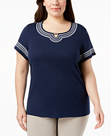 Karen Scott Plus Size Embroidered-Trim Top, Created for Macy's