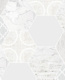 Graham & Brown Hexagonal Marble Gray Wallpaper