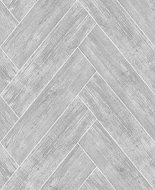 Graham & Brown Herringbone Wood Dark Gray Wallpaper