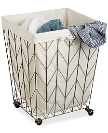 Honey Can Do Coastal Collection Decorative Rolling Hamper