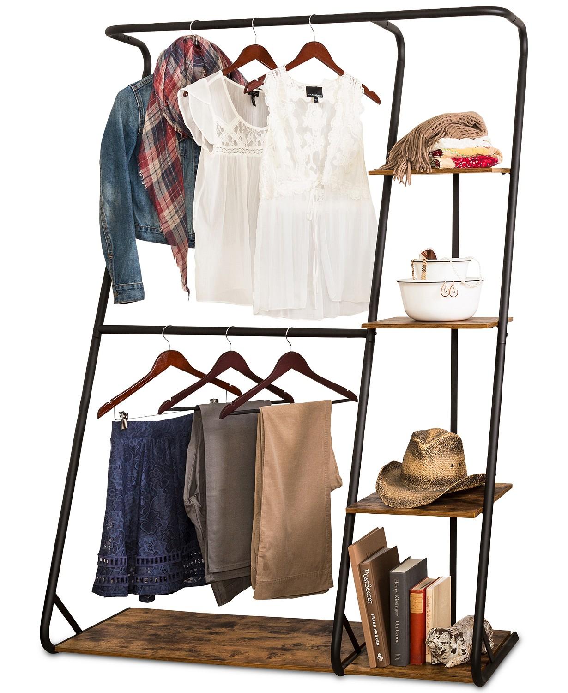 Rustic Z-Frame Wardrobe with Shelves
