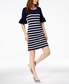 Charter Club Ruffle-Sleeve Shift Dress, Created for Macy's