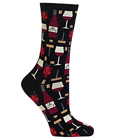 Women's  Wine Print Fashion Crew Socks
