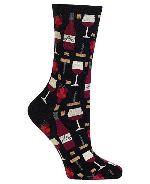 Hot Sox Women's  Wine Printed Crew Socks