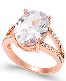 Charter Club Rose Gold-Tone Crystal Oval Ring, Created for Macy's