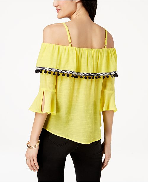 BCX Pom Pom Off Yellow Top Shoulder Sunshine Juniors' The XrIX1